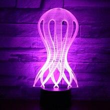3D LED Night Light Jellyfish with 7 Colors Light Amazing Visualization Optical Illusion