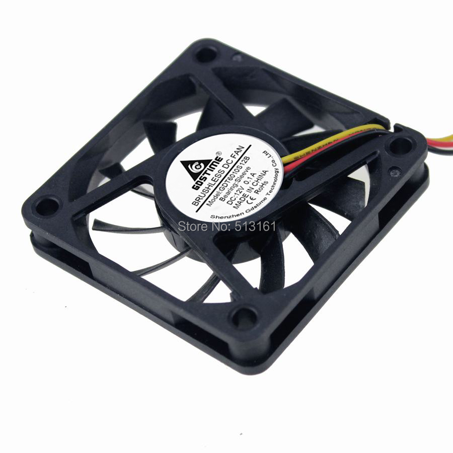 Купить с кэшбэком 5PCS Gdstime 60mm 3Pin 12V 60x60x10mm Computer Cooler DC Cooling Fan