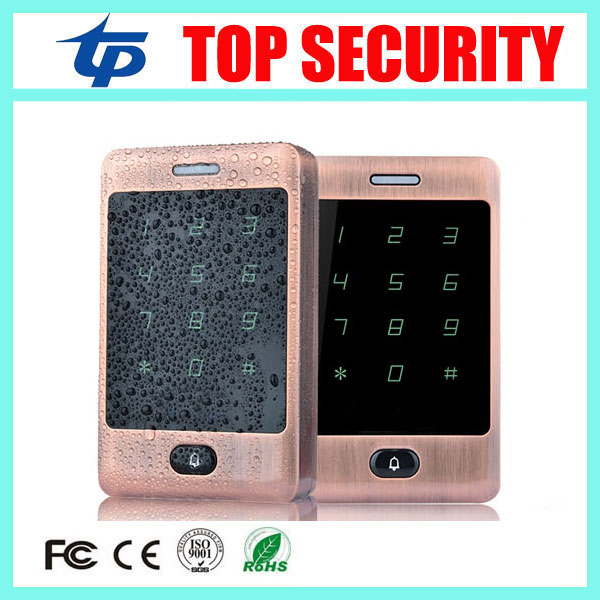125KHZ RFID card door access control panel touch waterproof keypad 8000 user access control system card reader access controller metal rfid em card reader ip68 waterproof metal standalone door lock access control system with keypad 2000 card users capacity