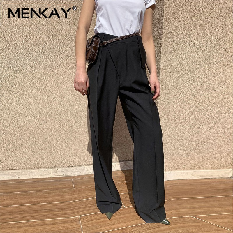 [MENKAY] High Waist Streetwear Palazzo Long   Wide     Leg     Pants   Loose Black Trousers Women Clothes 2019 Summer Korean Female New