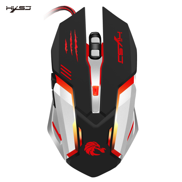 HXSJ Mechanical Game Mouse S100 5500 DPI 6 Button Colorful LED Backlit Light USB Wired Optical Gaming Mouse