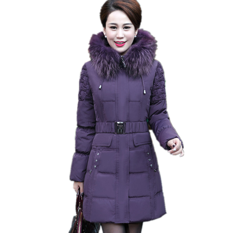 Large Size 6XL Real Fur Collar Down Cotton Padded Middle-aged Winter Jacket Warm Parka Coat Women High Quality Manteau TT3527 2017 middle aged winter jacket women thicken warm cotton padded slim plus size 6xl winter coat women parka high quality