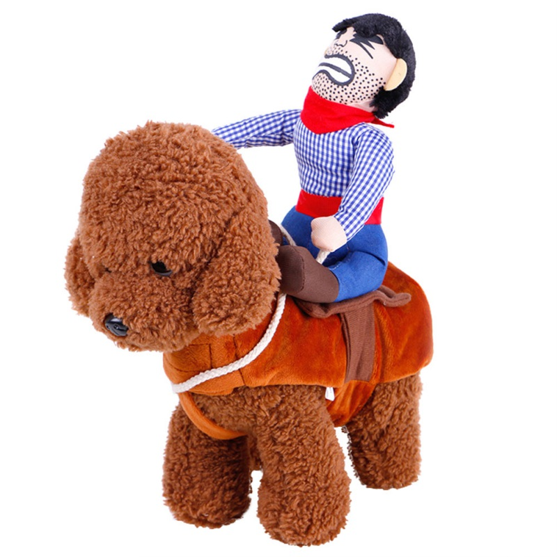 Lovely Riding Horse Dog Costume with Cowboy Hat Dog Pet Cat Funny Golden Retriever Halloween Party Custome Clothes