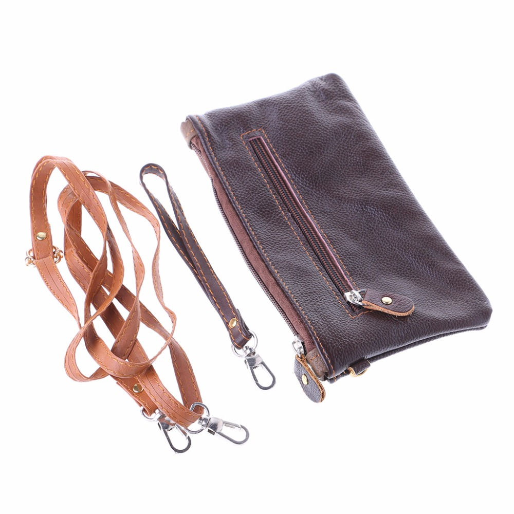 Men Retro Leather Small Purses and Zipper Wallets Coin Key Card Holder Case Pouch Wrist Bag 20x10.5cm THINKTHENDO