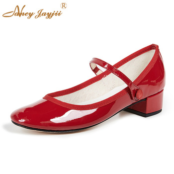Patent Red Mary Jane Ballet Ballerina Pumps 1 Inch Low Square Heels Round Toe Famous Brand Design Spring Women Shoes 2019