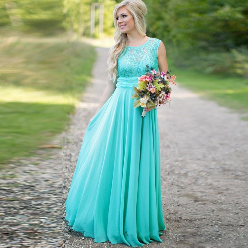 country style teal bridesmaid dresses cheap for wedding teal chiffon beach summer lace long ruffles party bridesmaid gowns