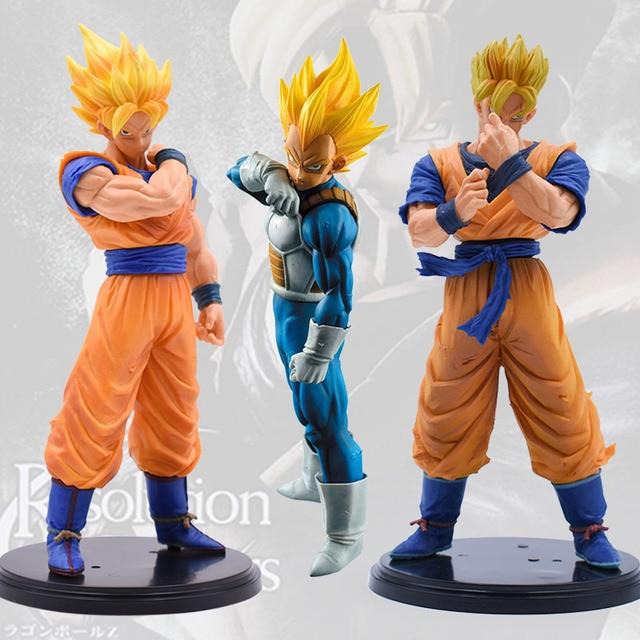 Figuras de acción de Dragon Ball Z, 3 sets, Goku, juguete de modelo de colección en PVC, Super Saiyan, Son Gohan, Zamasu, figura de Broly, juguetes para niños