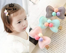 New Arrival 1 piece Kids Hair Clips Beads Bow hairgrips Girls Hair Accessories Children Candy Lovely Gift(China)