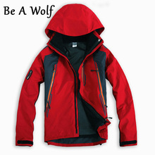 Be A Wolf 2 in 1 Hiking Jackets Softshell Men Outdoor Fishing Clothes Climbing Camping Skiing Windbreaker Waterproof Jacket 601 mens windbreaker waterproof outdoor snowboard skiing winter jacket men camping hiking fishing coat climbing jaqueta masculina