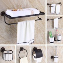 Black Oil Rubbed Bronze Bathroom Hardware Set Towel Shelf Towel Bar Paper Holder Cloth Hook KD969 стоимость