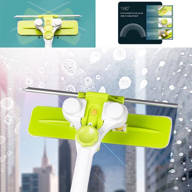 Extendable U-Shaped High-rise Window Cleaning Microfiber Brush