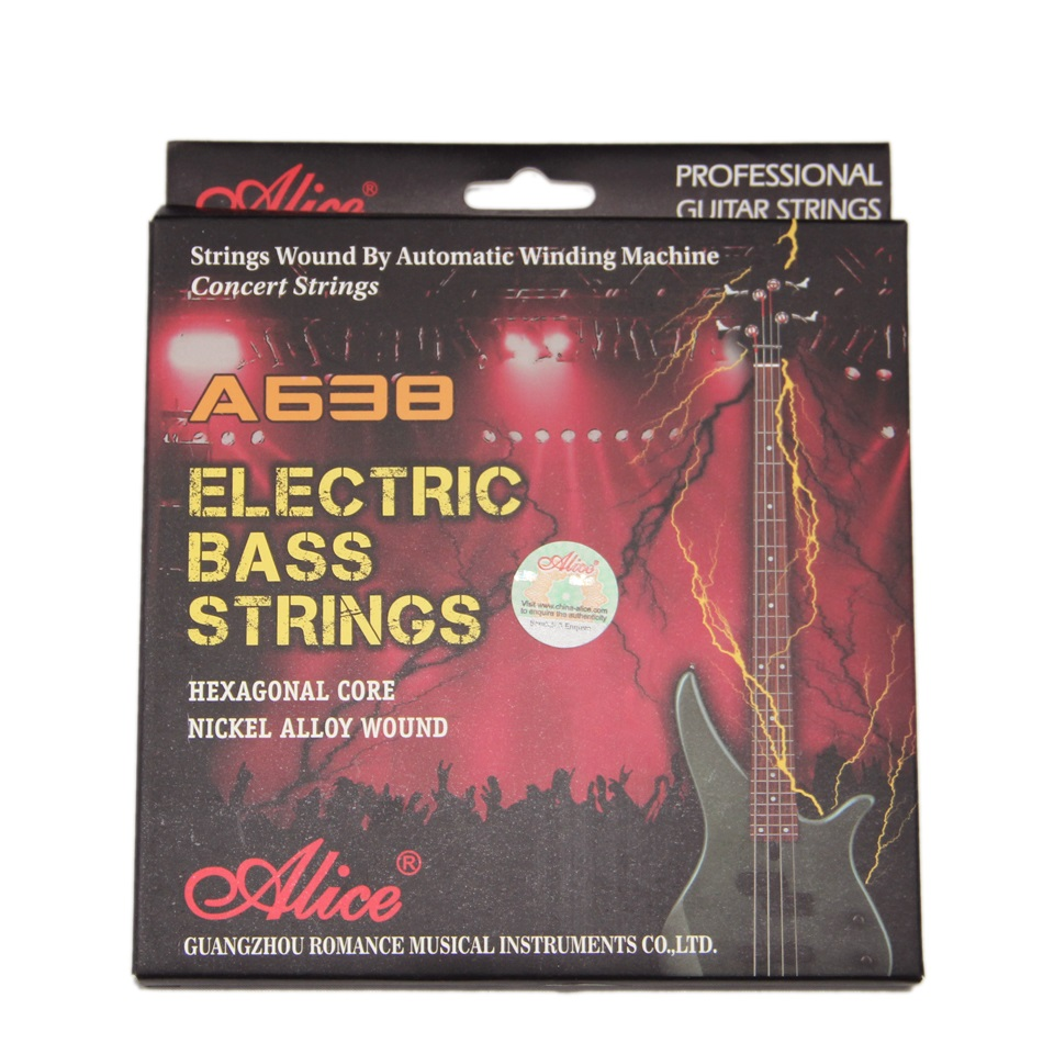 Electric Bass Strings ALICE 045-105 Hexagonal Core Nickle Alloy Wound Music Wire Set 4pcs/set Bass Guitar Strings 4pcs 990l electric bass guitar string 045 090 strings for electric bass with colored box