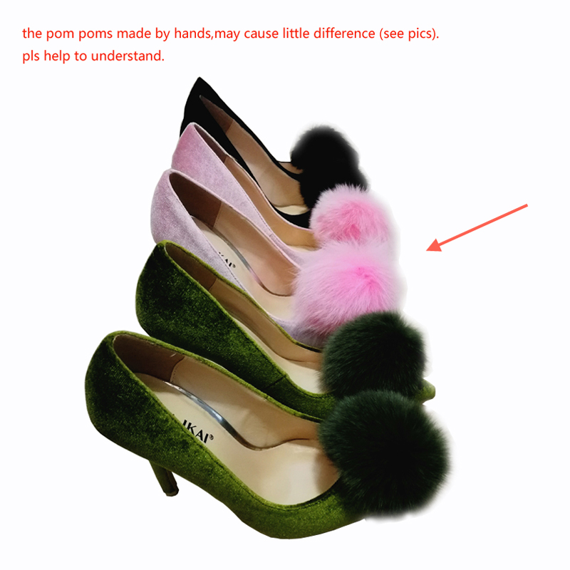 5fc6e00a4 LALA IKAI Pom Pom Women's High Heel Brand Velvet Pointed Toe Women's Pumps  Stiletto Heels Pink Wedding Shoes Boat Shoes 4C0924 4-in Women's Pumps from  Shoes ...