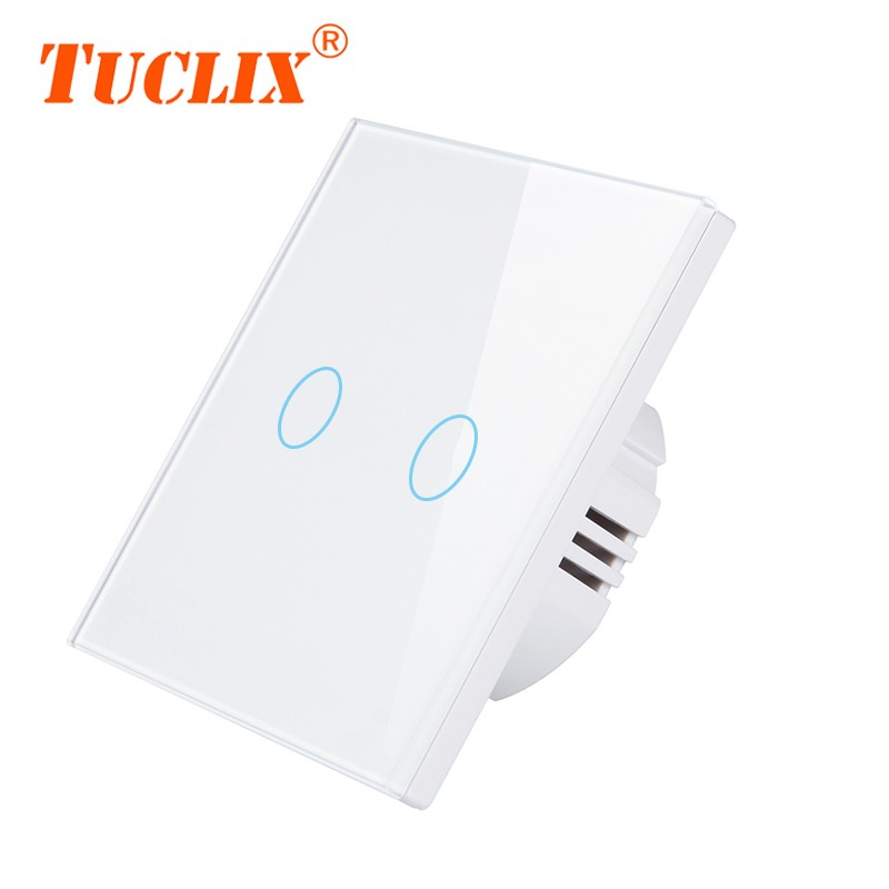 TUCLIX EU/UK Universal Wall Light Switch 110-240V Crystal Glass Panel Switch Waterproof Touch Control