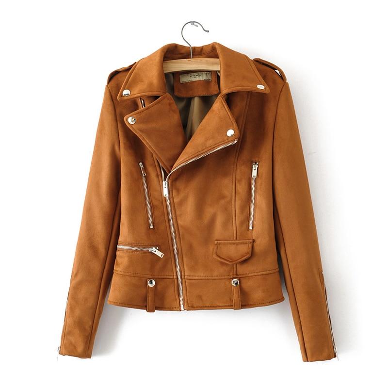 2019 Motorcycle Faux   Suede   Pu   Leather   Jacket Women Autumn Winter Zipper Short Female Coat Black   Suede   Ladies   Leather   Jackets