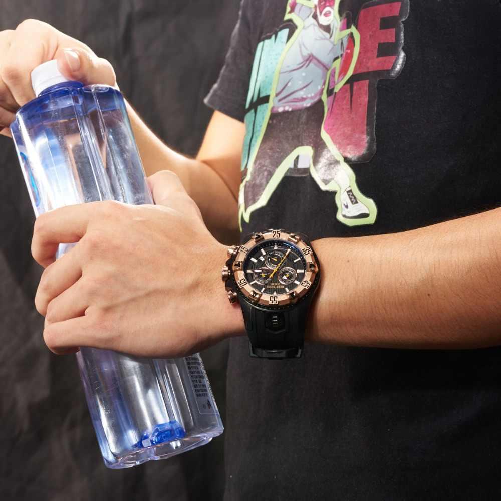Reloj deportivo Reef Tiger/RT para hombre reloj de cuarzo con cronógrafo y fecha esfera grande acero negro superluminoso reloj de parada RGA303