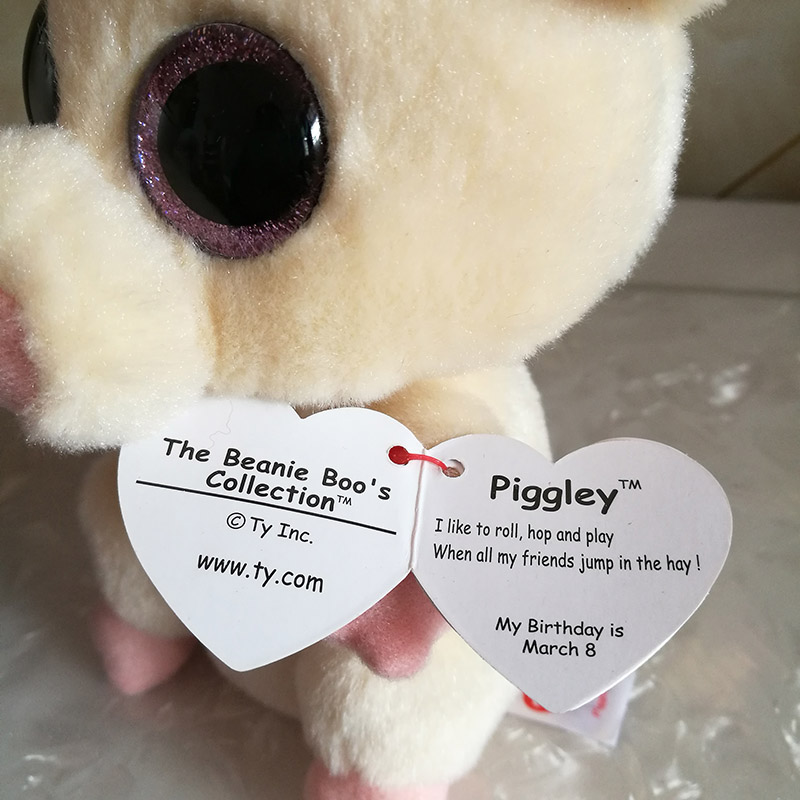 "Ty Beanie Boo 6/"" Piggley the Pig"