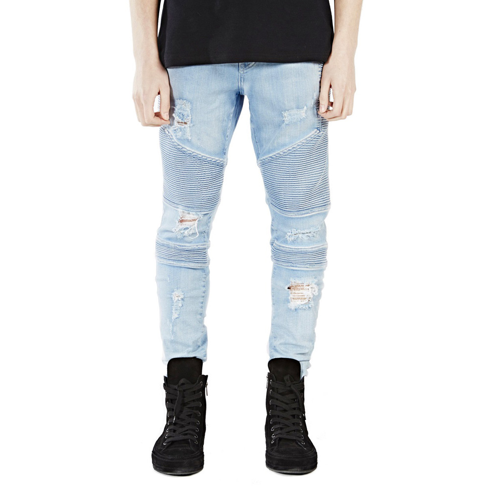 Men Skinny Jeans Design Fashion Biker Jeans For Men Strech Ripped Jeans E5018 men