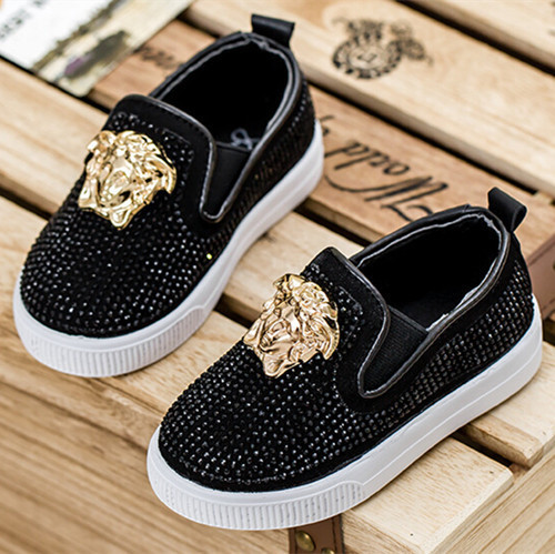 2016 autumn new fashion Kids Children shoes Baby's Flat rhinestones metal head Boys and Girls sport sneakers