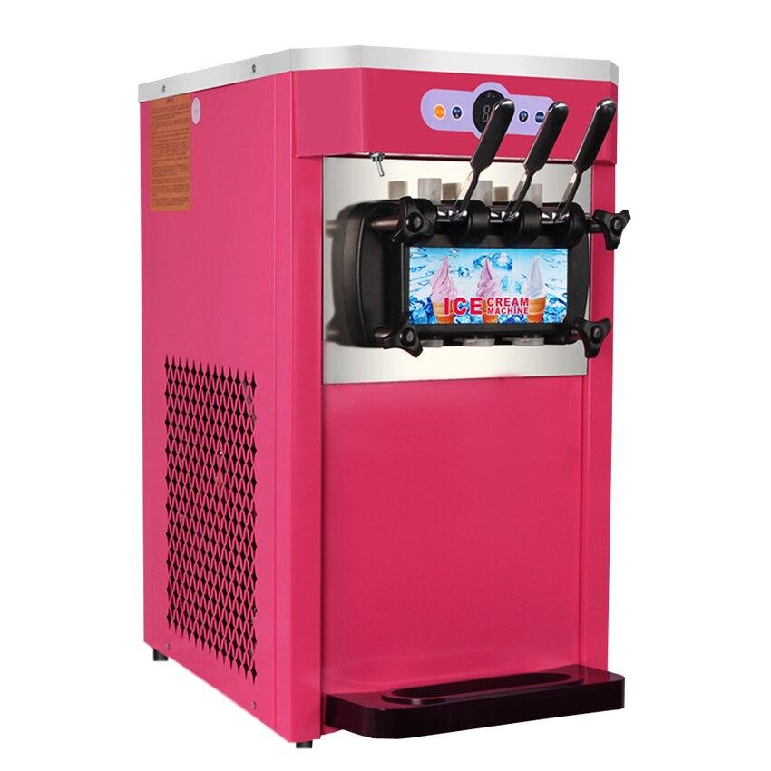 3 saveurs fabricant de crème glacée commerciale Machine à crème glacée molle yaourt crème glacée Milkshake distributeurs automatiques rouge/vert 18-22L/H XY-BQL