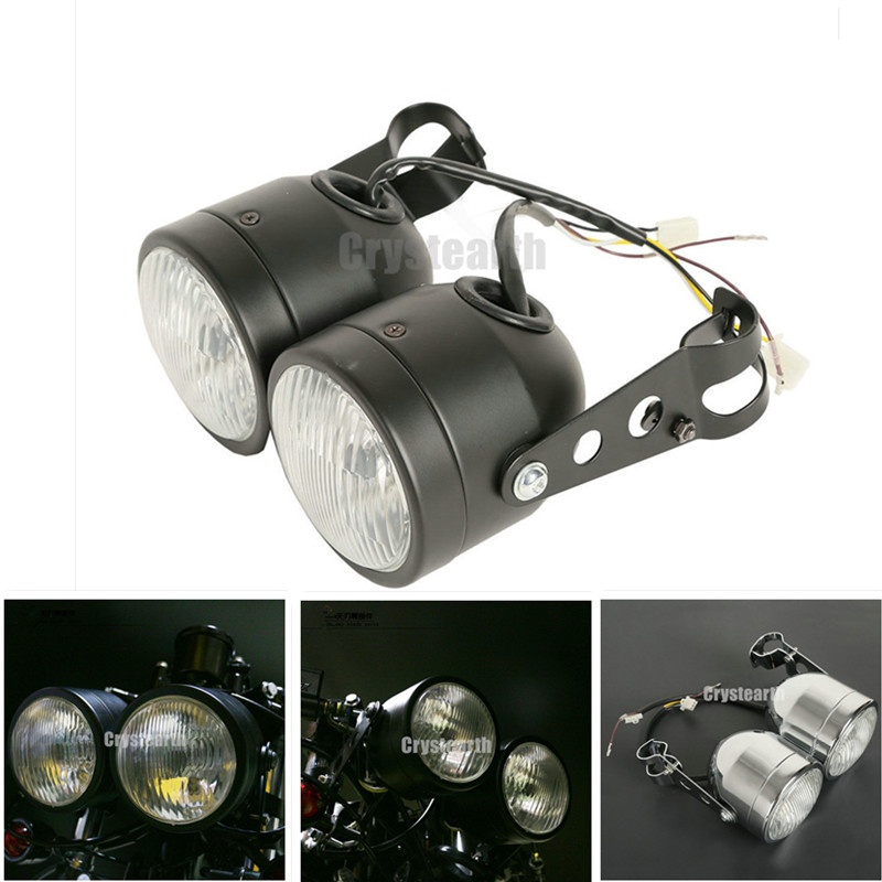 Twin Front Headlight w/ Bracket For Harley Softail Fat Boy FLSTF Dual Sport Dirt Bikes Street Fighter Naked Motorcycle Headlamp image