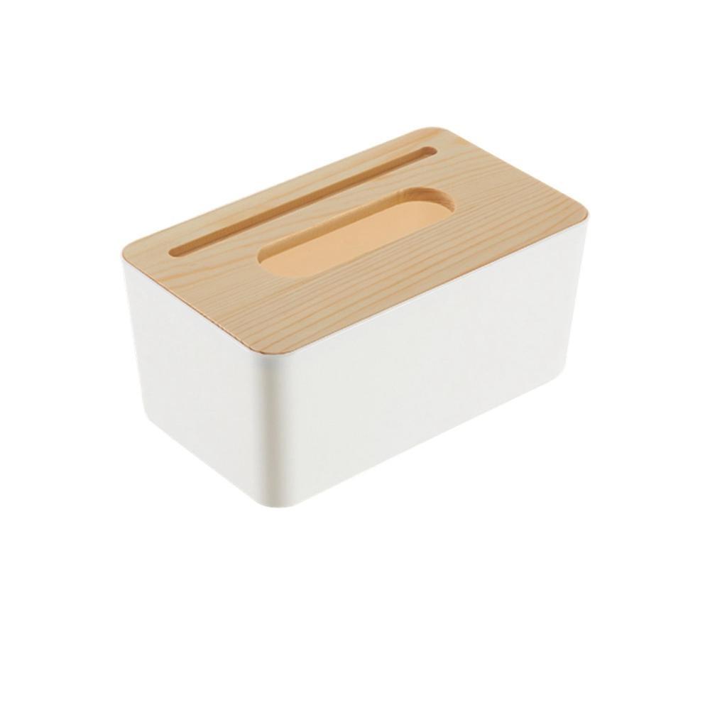 Новинка, деревянная крышка, автомобильная пластиковая коробка для салфеток, держатель, кухонная коробка для хранения, офисная, домашняя, органайзер, Настольная коробка для салфеток с телефонной полкой - Цвет: Rectangle