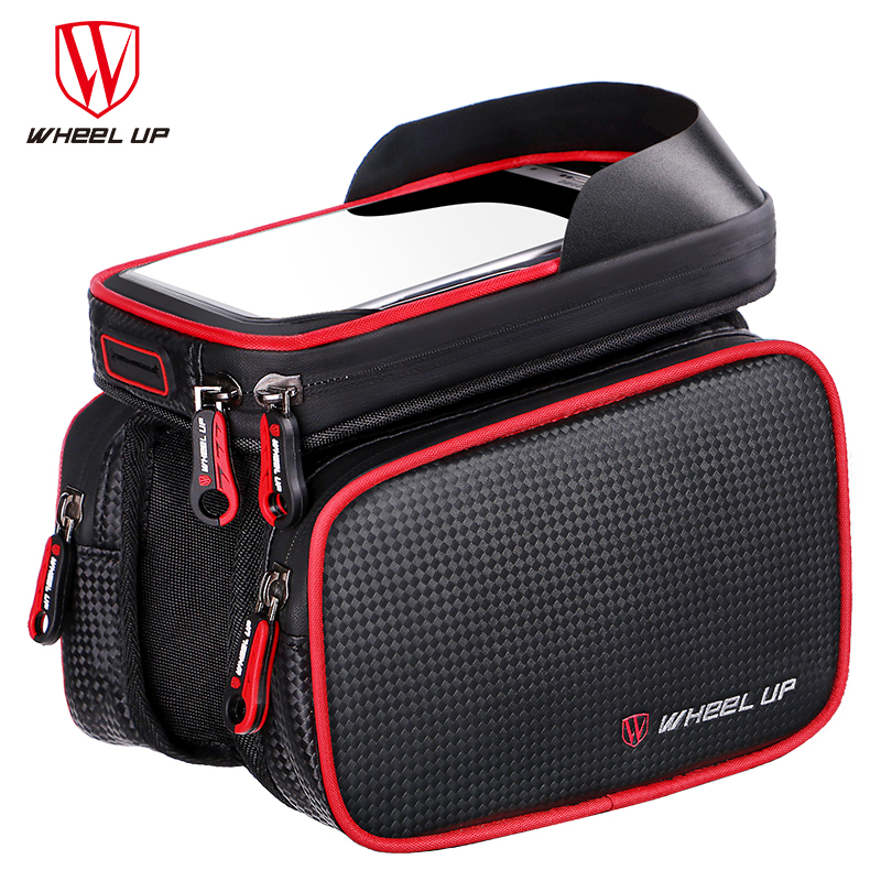 WHEEL UP 6.2 Inch Waterproof TPU Touch Screen Bike Bags MTB Road Bicycle Front Frame Top Tube Bag Cell Phone Bicycle Cycling Bag roswheel mtb road bike bag touchscreen bicycle saddle bag for 5 5 7 phone cycling front frame tube bag bicycle accessories