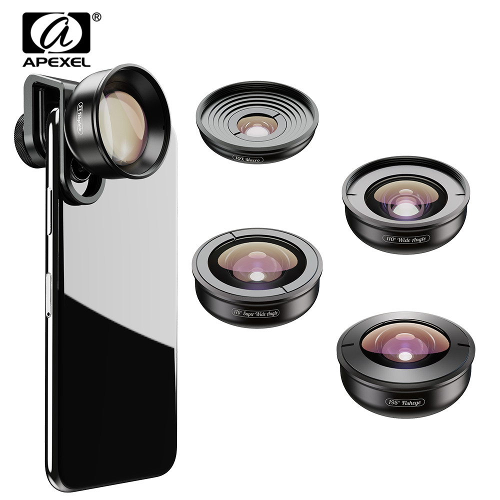 APEXEL 5in1 Mobile Phone Lens Kit Pro Photography HD Fisheye Super Wide Angle Macro Telescope Lens