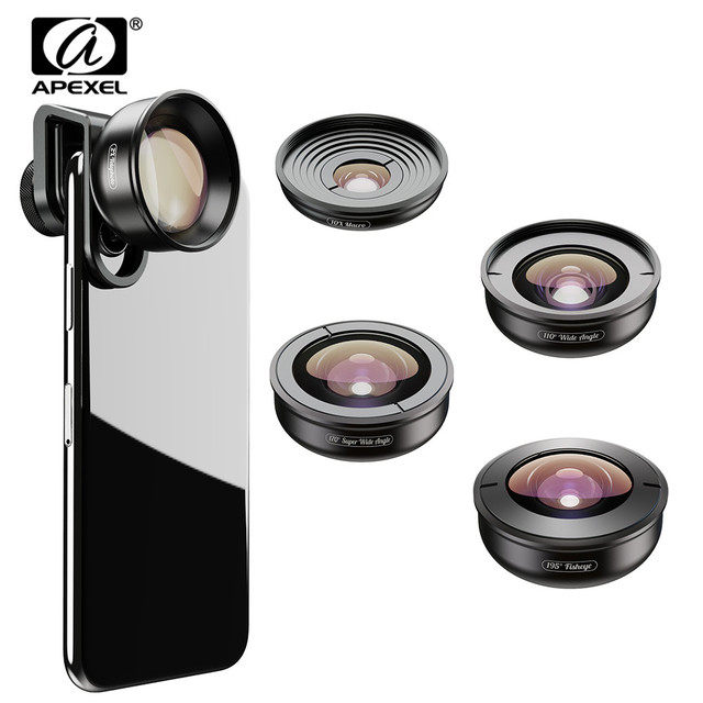 APEXEL 5in1 Kit de lentilles de téléphone portable Pro photographie HD Fisheye lentille de télescope Macro Super grand Angle pour Samsung iPhone Xs xiaomi