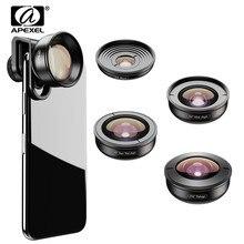 Apexel 5in1 Mobiele Telefoon Lens Kit Pro Fotografie Hd Fisheye Super Groothoek Macro Telescoop Lens Voor Samsung Iphone Xs xiaomi