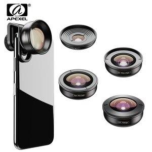 Image 1 - Apexel 5in1 kit lente do telefone móvel pro fotografia hd olho de peixe super grande angular macro lente telescópio para samsung iphone xs xiaomi