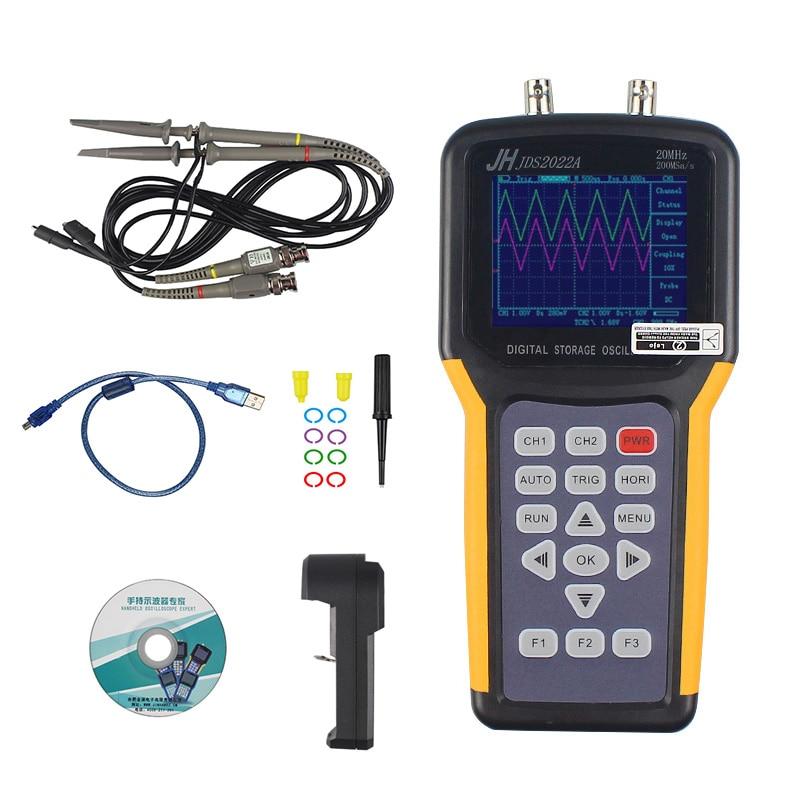 цена на Jinhan JDS2022A Double-channel handheld Digital oscilloscope 20MHz Bandwidth 200MSa/s Sample Rate,automotive multimeter
