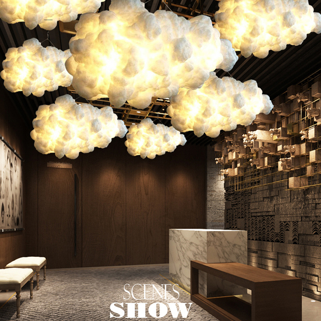 Floating Cloud Droplight White Clouds Hanging Lights Modern Cotton Pendant Light Fixture Home Indoor Lighting E27
