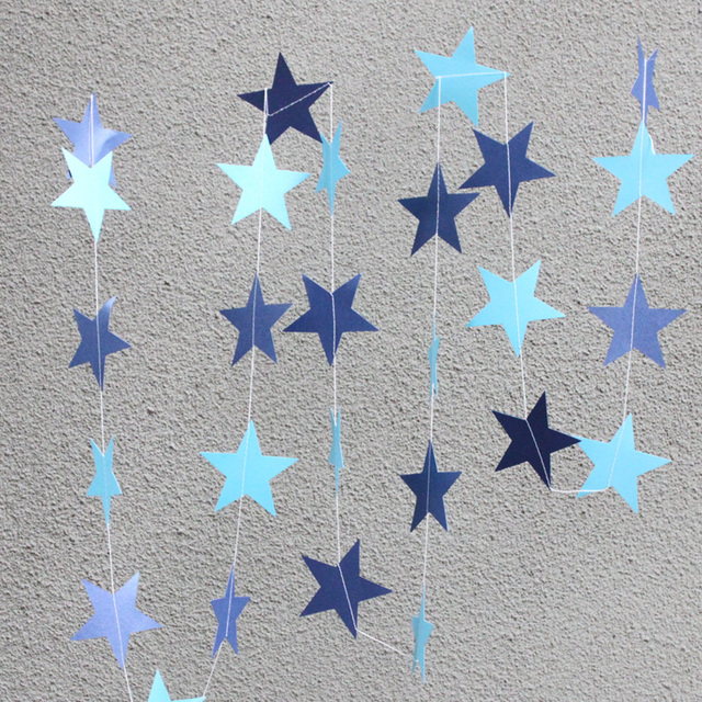4mPcs Handmade Paper Crafts Stars Hanging Decorations Wedding Party