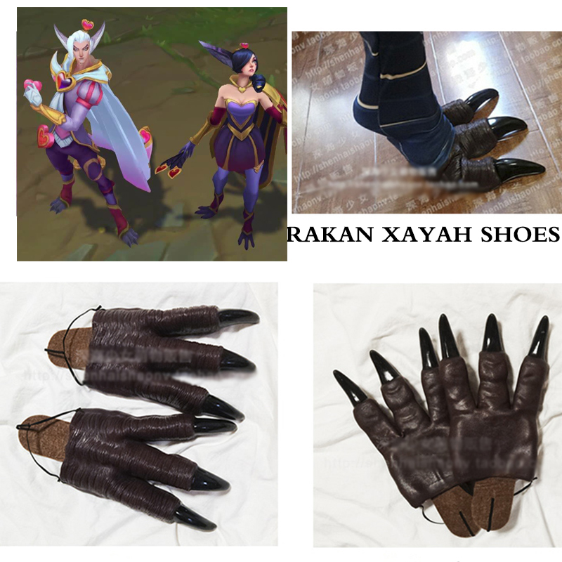 LOL Cosplay Rakan and Xayah Shoes Props Cosplay Costume Accessories Feather Daggers Wig for Women Men