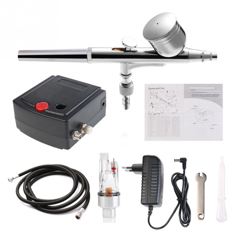 Professional Hoàn Chính Xác Air Brush Gun Set Mô Hình Cụ Thể Air Pump Kit với Máy Nén Spray Airbrush Tattoo Tool Set