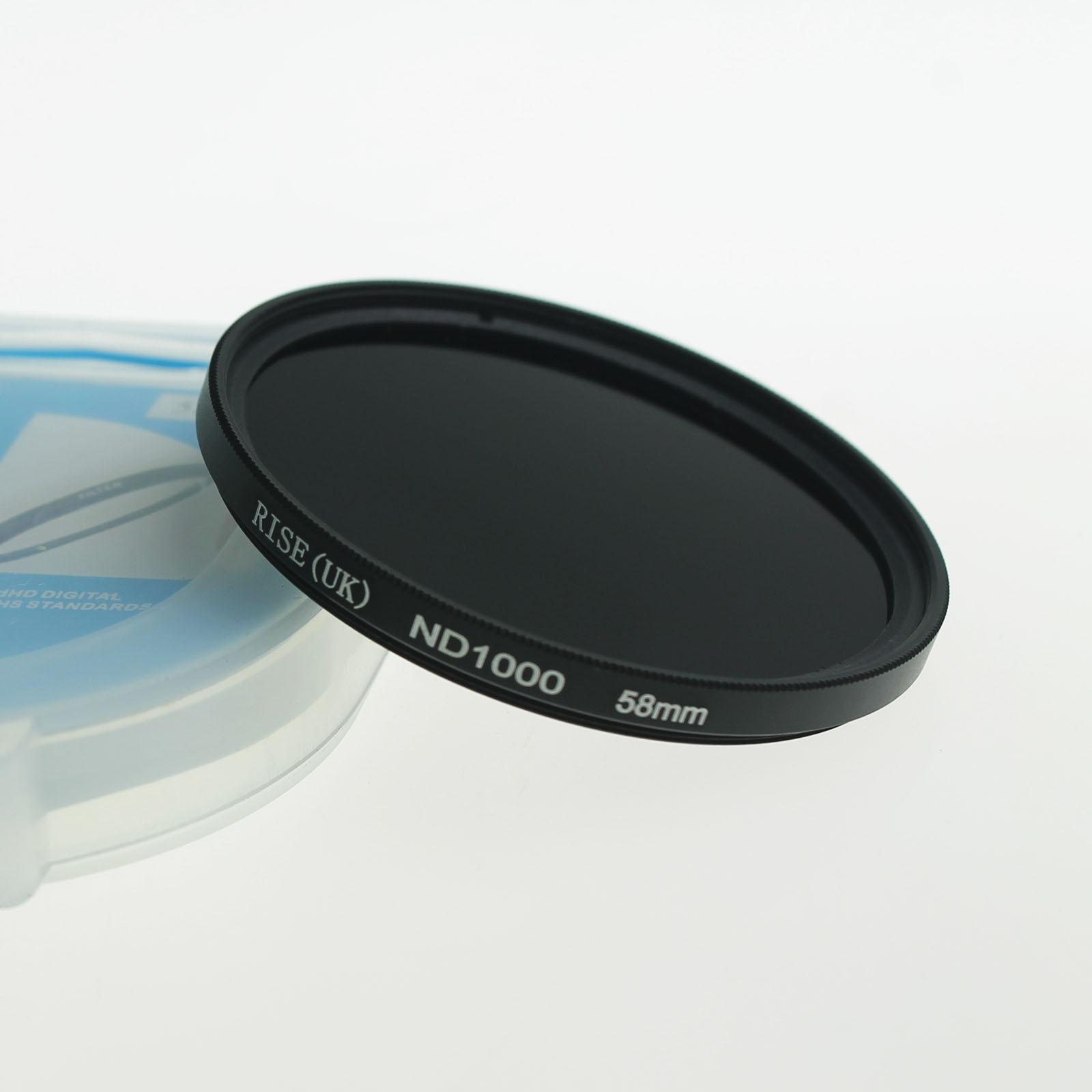 RISE 58mm slim Neutral density optical grade ND ND1000 filter for digital camera lens DV