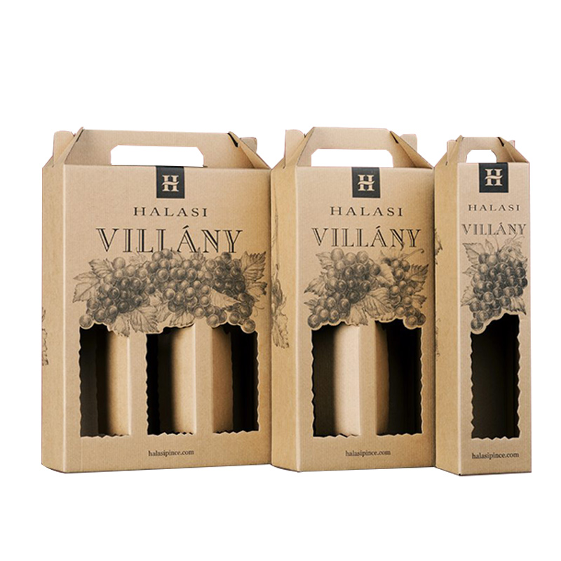 Bottle Wine Beer Carrier Corrugated Paper Packaging Wine Gift Box