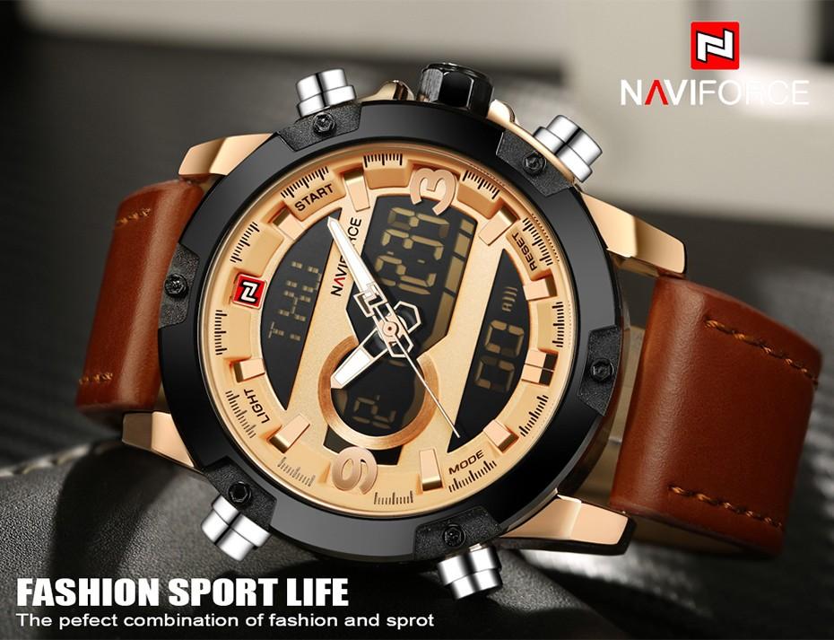 Top Luxury Brand NAVIFORCE Men Sport Watches Men's Quartz LED Analog Clock Man Military Waterproof Wrist Watch relogio masculino 1