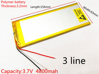 3263156 3 7V 4800mAh Rechargeable Li Polymer Li Ion Battery For 8 Inch 9inch Tablet PC