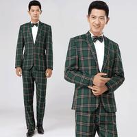 Groen bruin plaid formele mannelijke pak set mannen pak nieuwste jas broek ontwerpen heren pakken huwelijksbruidegom pak + broek + tie