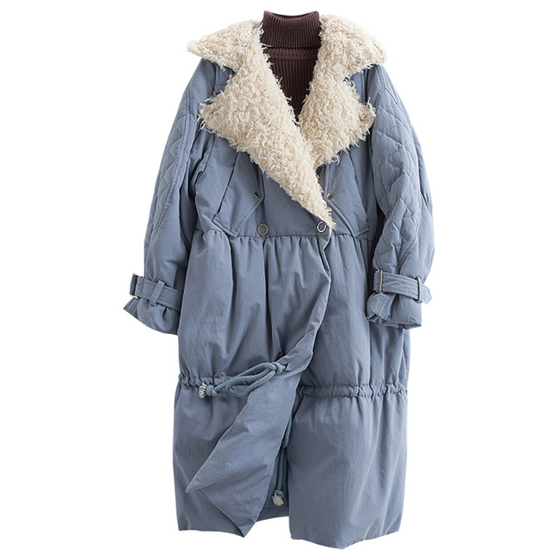 Winter White Duck   Down   Jacket Women Fashion Wool Fur Turn-  down   Collar Long   Coat   New Series Chic Pocket Womens   Down   Jacket YP2165