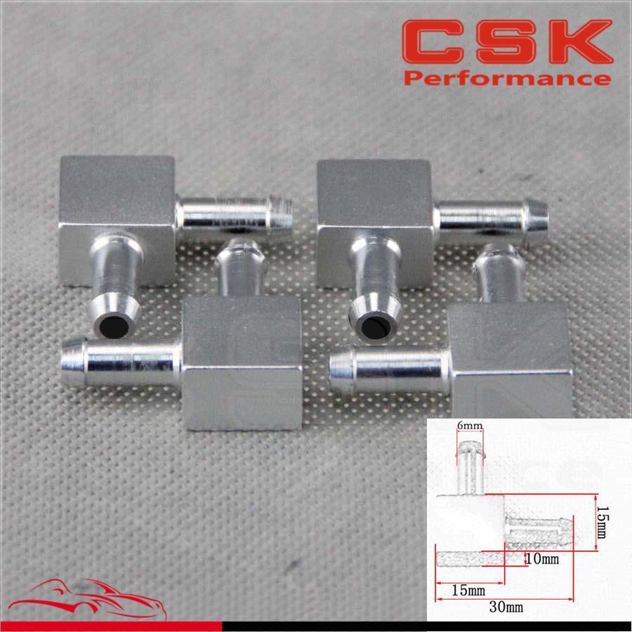 4pcs Aluminum 2 Way Tubing Tee Vacuum Connector water air pipe Joiner Black