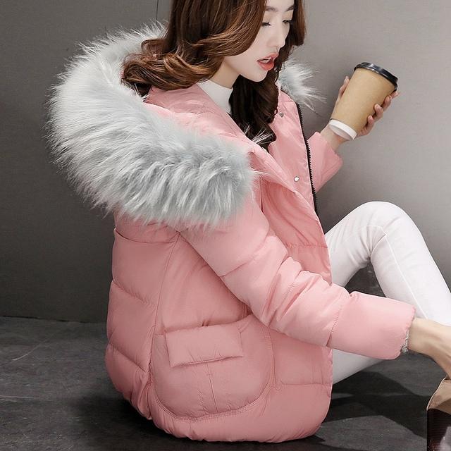 2016 Meninas de Inverno Para Baixo Mulheres Casaco Jaqueta de algodão Grosso Grande Gola De Pele Com Capuz Bolso Grande Cor Sólida JN1133
