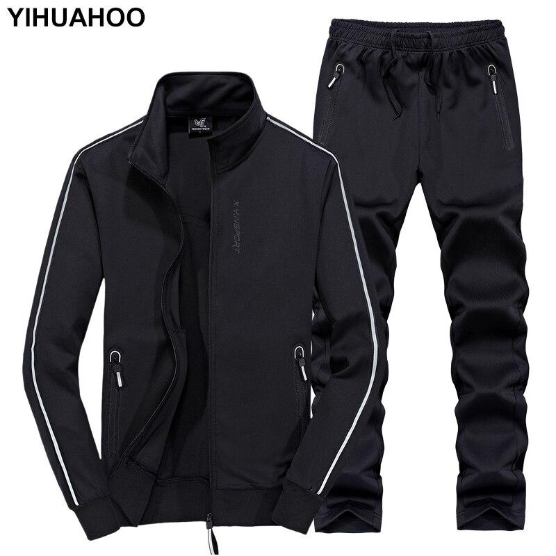 YIHUAHOO بذلة رياضية الرجال 6XL 7XL 8XL الشتاء الخريف اثنين من قطعة الملابس مجموعة العلامة التجارية عارضة رياضية جرزاية XYN 8823-في مجموعات للرجال من ملابس الرجال على  مجموعة 1
