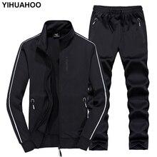 YIHUAHOO אימונית גברים 6XL 7XL 8XL חורף סתיו שתי חתיכה סט בגדי מותג מזדמן אימונית ספורט טרנינג XYN 8823