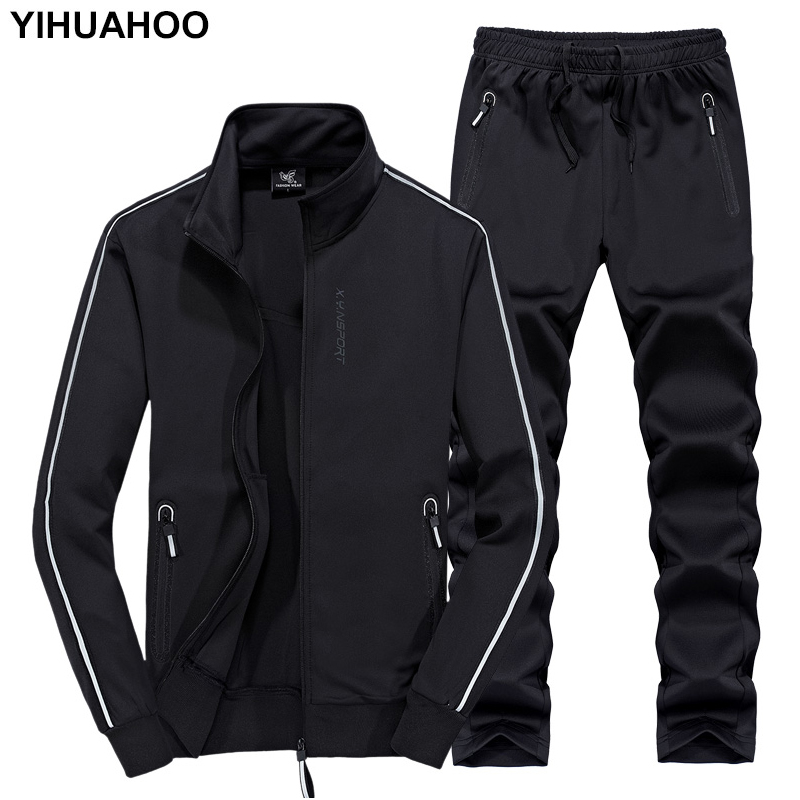 YIHUAHOO Track Suit Men 6XL 7XL 8XL Winter Autumn Two Piece Clothing Set Brand Casual Tracksuit Sportswear Sweatsuit XYN-8823