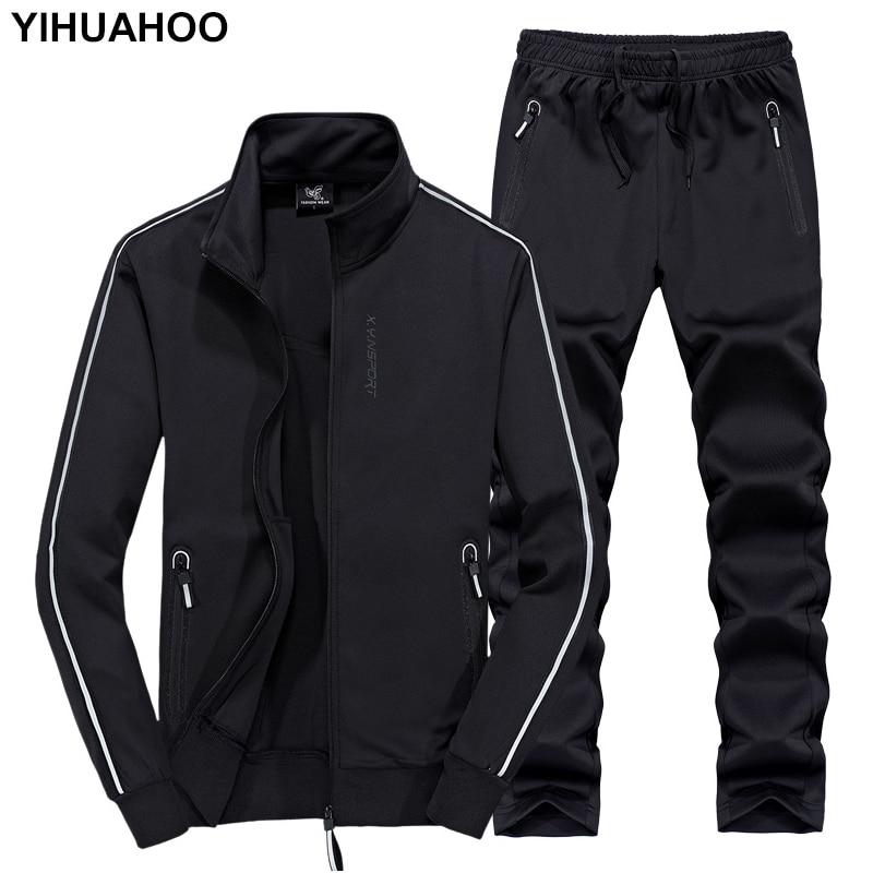 YIHUAHOO Track Suit Men 6XL 7XL 8XL Winter Autumn Two Piece Clothing Set Brand Casual Tracksuit Sportswear Sweatsuit XYN-8823