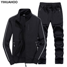 YIHUAHOO Track Suit Men 6XL 7XL 8XL Winter Autumn Two Piece Clothing Set Brand Casual Tracksuit Sportswear Sweatsuit XYN 8823