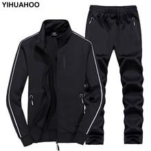Yihuahoo trilha terno masculino 6xl 7xl 8xl outono inverno duas peças conjunto de roupas marca casual agasalho moletom esportivo XYN 8823